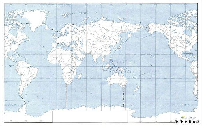 Контурная карта океанов