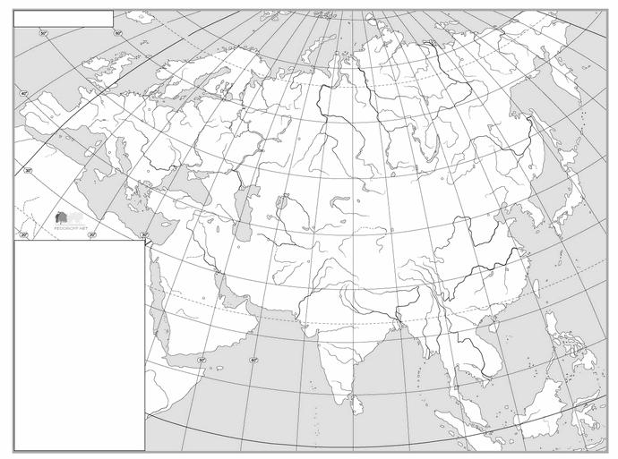 Контурная физическая карта Евразии