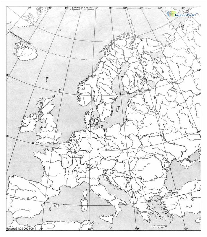 Контурная карта Европы (ч/б для печати)
