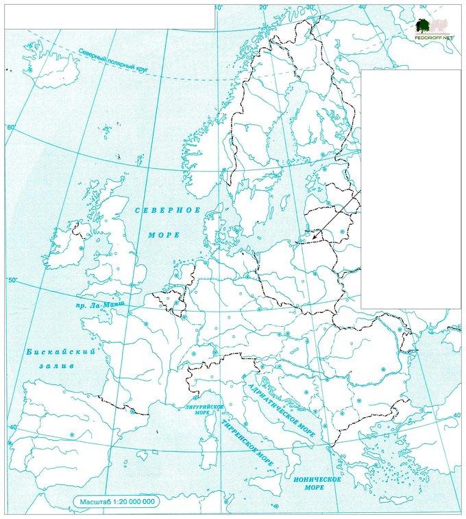 Контурная карта Зарубежной Европы