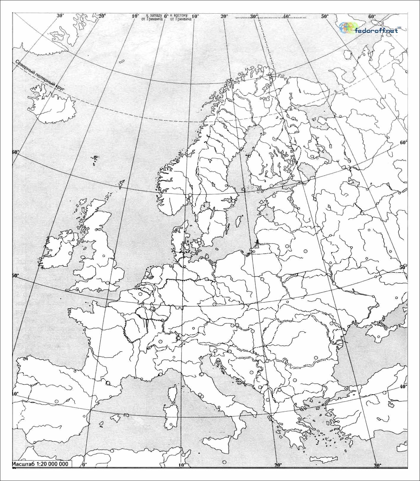 Konturnaya Karta Evropy Ch B Dlya Pechati