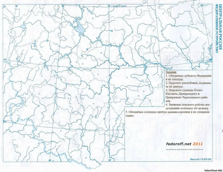 Контурная карта центральной россии